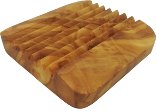 Rizes Zeephouder Olijfhout met Richels (vierkant)